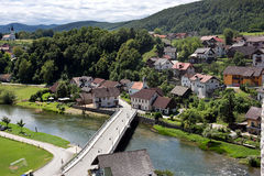 Slovenia - Zuzemberk on the Krka River,view from medieval castle. Zuzemberk lies in the southern part of Carniola on the left bank of the Krka River and is royalty free stock photos