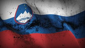 Slovenia grunge dirty flag waving on wind. Slovenian background fullscreen grease flag blowing on wind. Realistic filth fabric texture on windy day Stock Photos