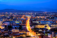 Slovenian capital Ljubljana. At the blue hour. HDR image from 3 exposures Stock Images