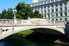 Slovenian capital Ljubljana. Dragon bridge over Ljubljanica rive Royalty Free Stock Photo