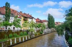 Slovenian capital Ljubljana riverbank in city center Stock Photo