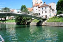 Slovenian capital Ljubljana with small bridge over Ljubljanica r Stock Photography