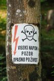 Slovenian Electricity Warning Sign Royalty Free Stock Photo
