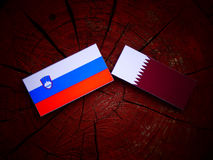 Slovenian flag with Qatari flag on a tree stump isolated. Slovenian flag with Qatari flag on a tree stump Royalty Free Stock Image