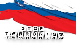 Slovenian flag and text stop terrorism. Royalty Free Stock Photos
