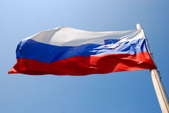 Slovenian flag in wind Stock Image