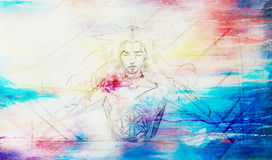 Slovenian goddess crucified, History Concept. pencil drawing on old paper. And color spots on background. Stock Photos