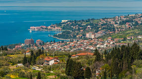 Slovenian istria - istra. View from above on Portoroz town stock photos