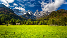 Slovenian Julian Alps and the Špik (Spike) mountain Royalty Free Stock Image