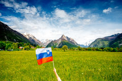 Slovenian landscape with flag Royalty Free Stock Image
