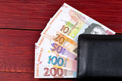 Slovenian money in the black wallet Royalty Free Stock Photography