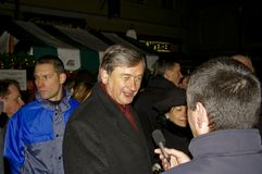 Slovenian president Danilo Turk. Giving an interview on the street stock images