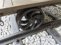 Slovenian railway detail wheel Royalty Free Stock Photo