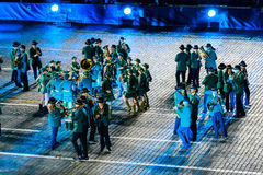 The Slovenian Show Band Laško at the Red Square. MOSCOW, RUSSIA - AUGUST 26, 2016: Spasskaya Tower international military music festival. The Slovenian Show Stock Images