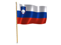 Slovenian silk flag Stock Photos