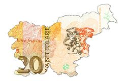 20 slovenian tolar bank note reverse in shape of slovenia. Specimen royalty free stock images
