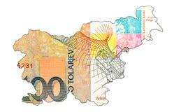 100 slovenian tolar bank note reverse in shape of slovenia. Specimen stock photos
