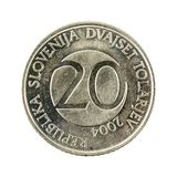 20 slovenian tolar coin 2004 obverse. Isolated on white background, specimen royalty free stock photos