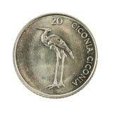 20 slovenian tolar coin 2004 reverse isolated on white backgro. Und, specimen royalty free stock image