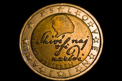 Slovenian two euro coin. With the silhouette of the slovene poet France Preseren and with words of his poem (which are also the beginning words of the slovene Royalty Free Stock Images