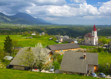 Slovenian village at spring sunny day Royalty Free Stock Image