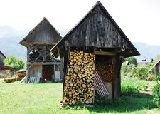 Slovenian Wood Storage Buildings Stock Photography