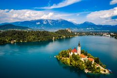 Slovenien - blödd semesterortsjö arkivbilder