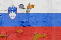 Slovenien flagga som målas på en riden ut betongvägg Royaltyfri Fotografi