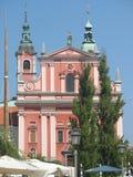Slovenien - kyrka i Ljubljana Royaltyfria Bilder