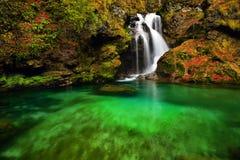 Slovenien parkerar den härliga landskapvattenfallet i skogen och naturliga Arkivfoton