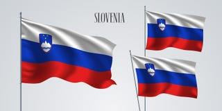 Slovenien vinkande flaggauppsättning av vektorillustrationen Royaltyfria Bilder