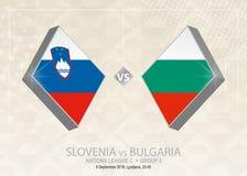 Slovenien vs Bulgarien, liga C, grupp 3 Europa fotbollcompeti Vektor Illustrationer