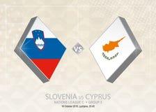 Slovenien vs Cypern, liga C, grupp 3 Europa fotbollcompetiti Royaltyfri Illustrationer