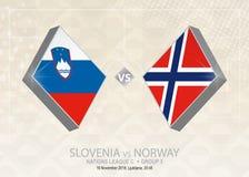 Slovenien vs Norge, liga C, grupp 3 Europa fotbollcompetiti Vektor Illustrationer