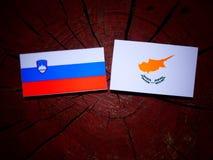 Slovensk flagga med den cypriotiska flaggan på en isolerad trädstubbe Royaltyfri Foto