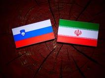 Slovensk flagga med den iranska flaggan på en isolerad trädstubbe Arkivbild