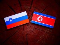 Slovensk flagga med den nordkoreanska flaggan på en trädstubbe Fotografering för Bildbyråer