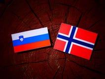 Slovensk flagga med den norska flaggan på en isolerad trädstubbe Royaltyfri Bild