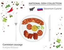 Slovensk kokkonst Europeisk nationell maträttsamling Carniolan vektor illustrationer