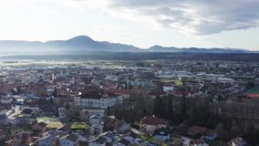 Slovenska Bistrica, Slovenia from the air, old town with historic castle and medieval buildings