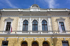 Slovenska filharmoniska Hall i Ljubljana Arkivbild