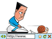 Slow adsl. Businessman surfing the net at slow velocity Stock Photo