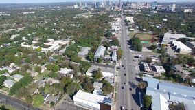 Aerial view of cars in Austin, Texas.