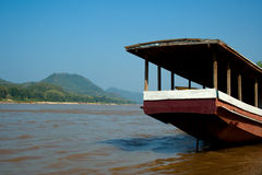 Slow boat on Mekong Royalty Free Stock Images