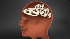 Slow brain - human head with non functional cog wheels,. Slow brain - human head with twisted and misaligned wooden cogwheels inside, symbolizes stupidity Royalty Free Stock Images
