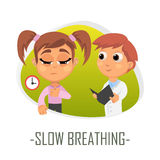 Slow breathing medical concept. Vector illustration. Stock Images