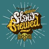 Slow Brewed Craft Beer Script Lettering Label Design With Sunris. E, Hops And Wheats Illustration. Vector Graphic Royalty Free Stock Images