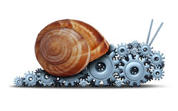 Slow Business. Concept as a snail shaped as a group of gears and cogs as a financial motor metaphor for sluggish progress technology and innovation delays or Stock Photography