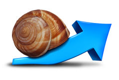 Slow Business Growth. Financial symbol as a blue three dimensional arrow pointing up shaped as a snail for the concept of sluggish profit gains or the economy Stock Photography