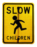 Slow children. A slow children zone sign Royalty Free Stock Images